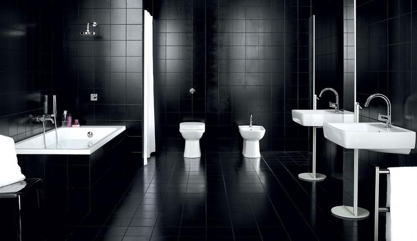Черная мебель для ванной - особенности подбора элементов, правила ухода и установки (110 фото)