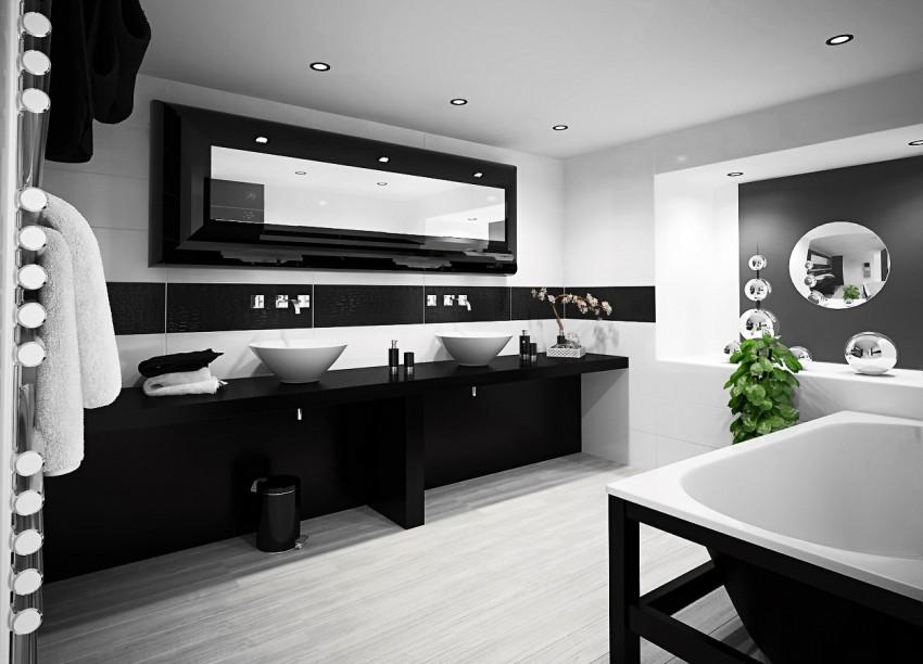 Черно-белая ванная - особенности и секреты применения контрастных цветов (90 фото)
