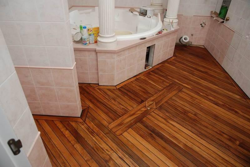 Деревянный пол в ванной - влагостойкие покрытия и обработка древесины (115 фото)