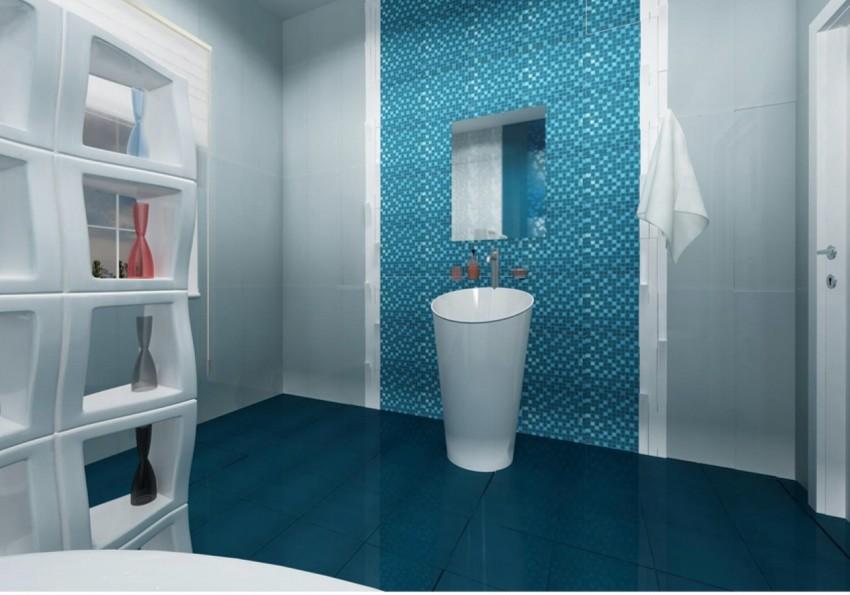 Голубая ванная - традиционный дизайн и необычные современные конструктивные решения. 125 фото примеров реализации стиля