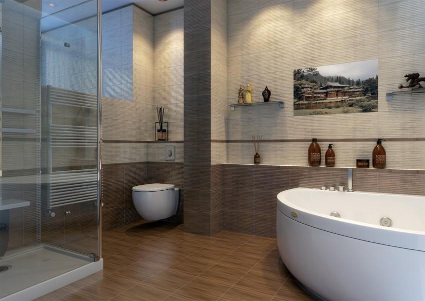 Кафельная плитка для ванной - выбор, обзор особенностей и оптимальных сочетаний (125 фото)