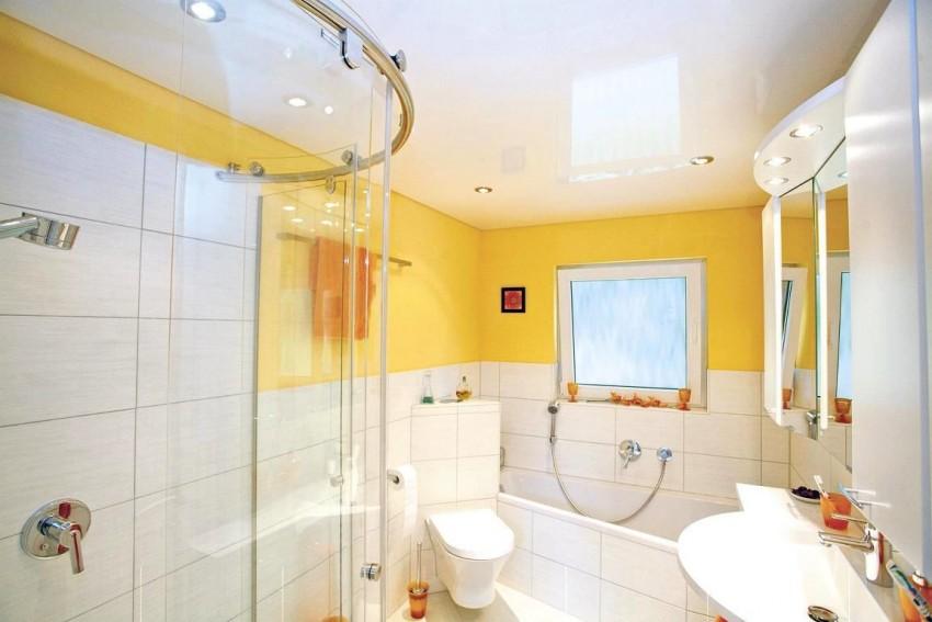 Натяжной потолок в ванной: плюсы, минусы применения и особенности установки современных проектов (85 фото)