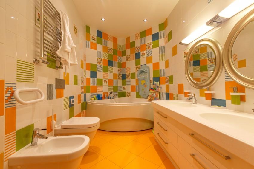 Ванная комната оранжево синяя смесители для сыпучих материалов купить