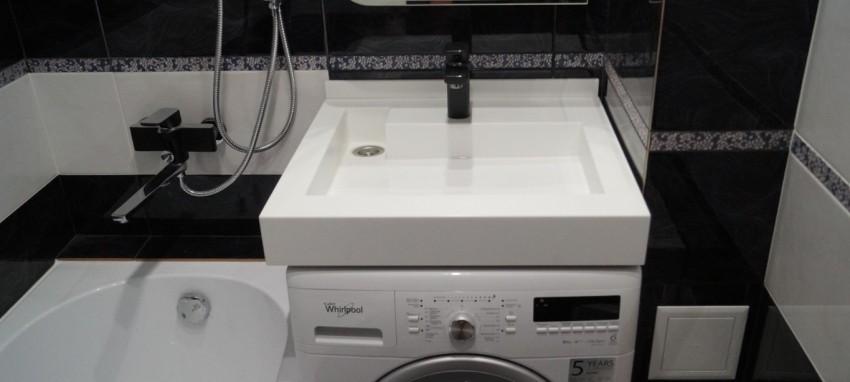Стиральная машина под раковиной: секреты установки машинки и маскировка коммуникаций (115 фото)