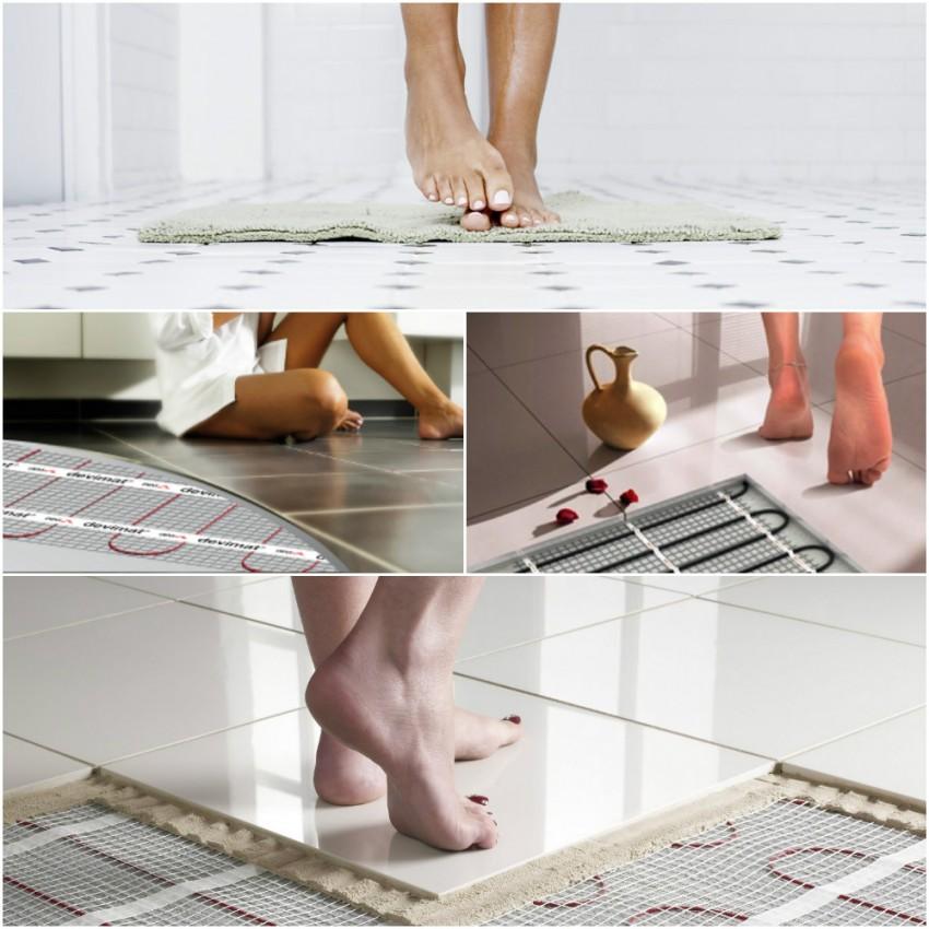 Теплый пол в ванной - технология монтажа и установка покрытия своими руками (120 фото)