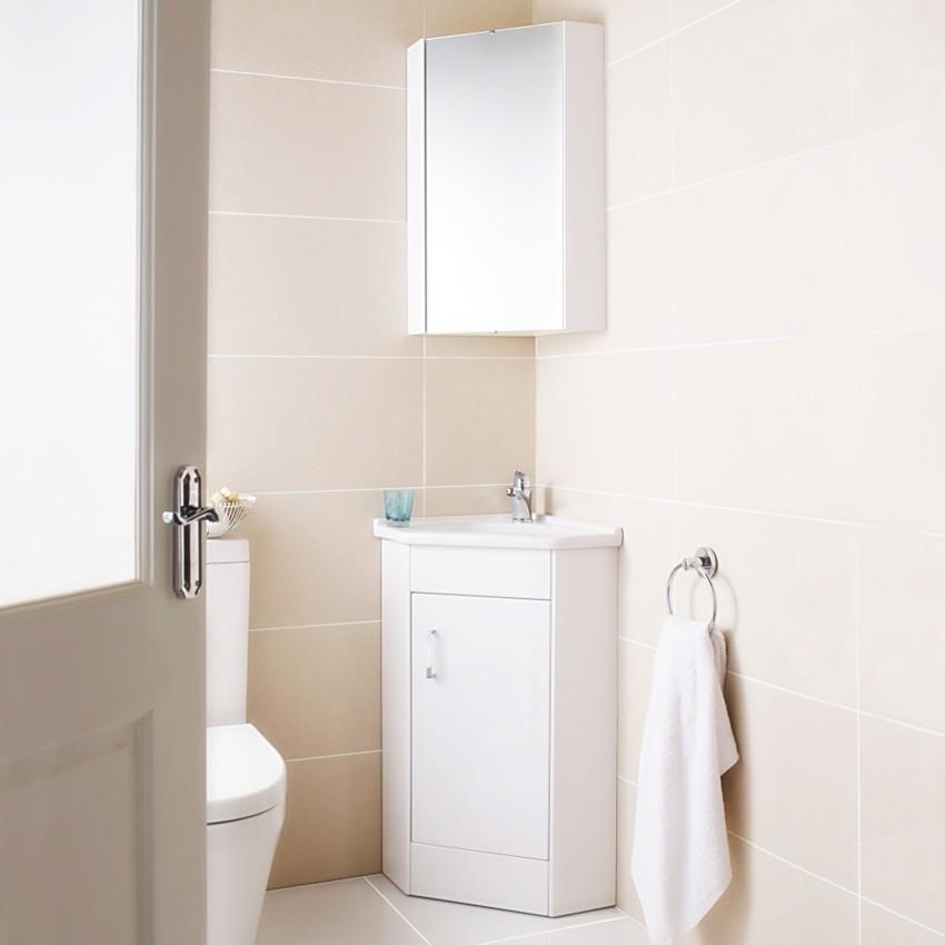 Угловая мебель для ванной - навесные и стационарные шкафы, тумбы, умывальники и тумбы (105 фото)