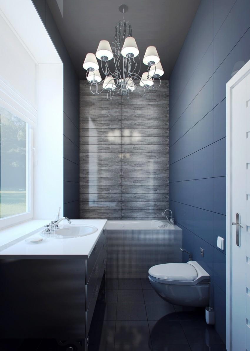 Узкая ванная - использование в дизайне ванной комнаты и правила оформления (110 фото)