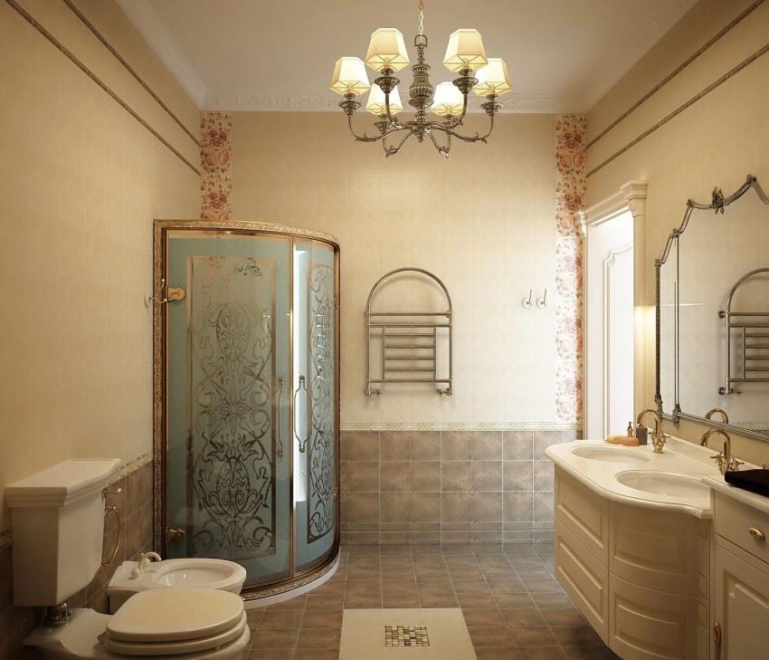 интерьер ванной с душевой