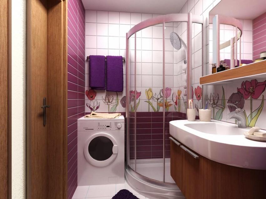 дизайн маленькой ванны с душевой кабиной