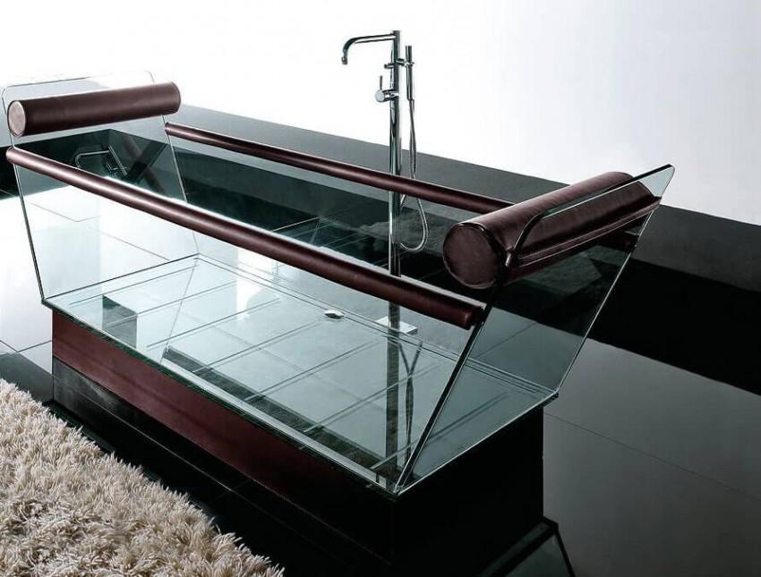 Стеклянная ванна сидячая