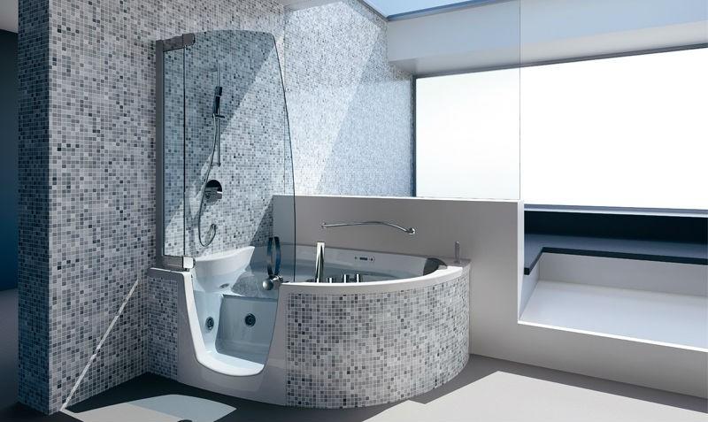 угловая сидячая ванна